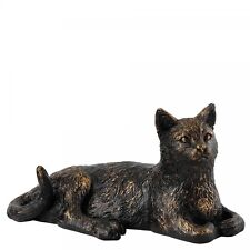 Border Fine Arts Studio Bronze Cat Lying Laying Down Rustic Collection Figure