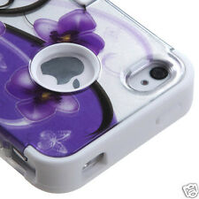 APPLE iPHONE 4 4S MULTI LAYER TUFF HYBRID CASE ACCESSORY PURPLE PETUNIAS 2D