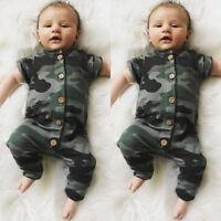 Newborn Infant Baby Boy Girl Kids Camo Romper Jumpsuit Bodysuit Clothes Outfit