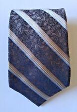 Perry Ellis Portfolio men tie striped silk nice design brown necktie