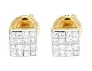 14K Yellow Gold Invisible Princess Square Real Diamond Stud Earrings 0.50ct 5MM
