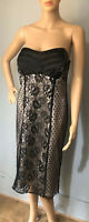 Dorothy Perkins Party Dress Det Straps Lace Overlay UK Size 14 Black Nude BNWT