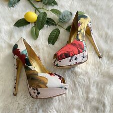 Ted Baker Carlina Platform Heels Peep Toe Size 38 US 7 Floral Insects Bugs