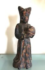 """Antique Chinese Gilt Lacquered Wood Women Figure 10"""" Height"""