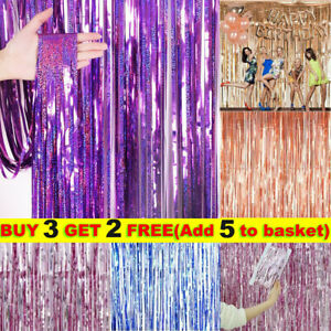1x Foil Curtain Metal Fringe Shimmer for Birthday Wedding Party Background Decor