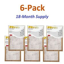 6-Pk (16 x 25 x 1) Filtrete-Basic 3M Air-Filter Replacement Pad Furnace Dust Lot