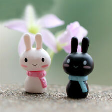 2x Couple Rabbit Miniature Figurines Toys Lovely Mini Model Home Garden Decor DS
