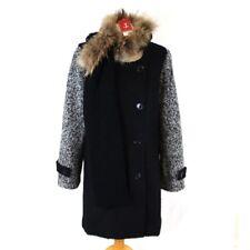 RENE DERHY Coat 16 Wool Blend Black Scarf Double Breast Boucle Racoon Fur Trim