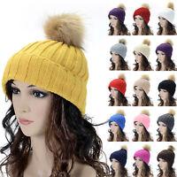 Women Ladies Girls Winter Warm Wool Knit Crochet Fur Pom Bobble Beanie Hat Cap