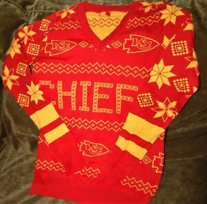 Kansas City Chiefs Christmas sweater women's small NEW NFL holiday party apparel