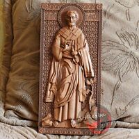 """Saint Timothy the Apostle 3D Art Orthodox Wood Carved icon (10""""x5"""")"""