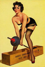 Framed Print - G Elvgren Pin Up Girl Lifting Weights (Picture Poster Vintage)