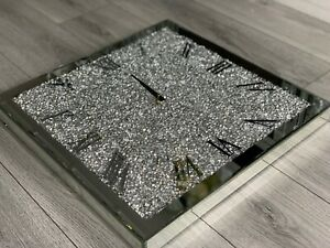 MIRROR CRUSHED DIAMOND SILVER CRUSHED CRYSTAL FILLED SPARKLY 50X50CM WALL CLOCK✨