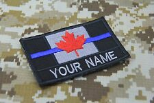 CUSTOM NAME TEXT POLICE THIN BLUE LINE CANADA FLAG PATCH 9X5.5 CM HOOK BACKING