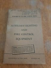 Post Ww2 Wwii Us Tm9-575 Auxiliary Sighting And Fire control Equipment Manual
