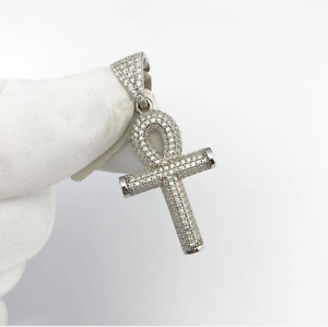 Sterling Silver Ankh Pendant set with Cubic Zirconia***