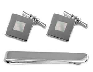 Sterling Silver Mother Of Pearl Chain Link Cufflinks Tie Clip Box Set