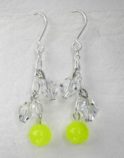 Yellow quartz and clear glass bead on silver tone hooks Drop earrings Approx.5cm