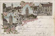 43964 - Litho Gruss aus Müncheberg mit Kirche im Landkreis Märkisch - Oderland