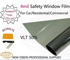 NEW VISION High Quality 4Mil VLT 50% Security and Safety Window Films 1.52mX30m