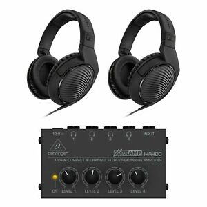 Sennheiser HD200PRO Headphone Pair Bundle With Behringer HA400 Headphone Amp