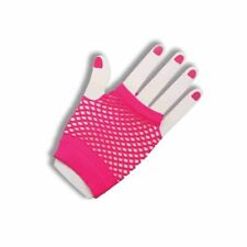 Womens Adult Sexy 80s To The Maxx Short Pink Fishnet Fingerless Costume Gloves