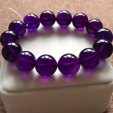 Natural Purple Amethyst Crystal Round Big Beads Unisex Bracelet 16mm AAA