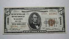 $5 1929 Walden New York NY National Currency Bank Note Bill #10923 Uncirculated+