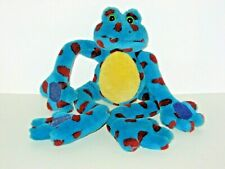 "Fiesta 18"" Plush Stuffed Frog F/Hugging/Hanging, Blue W/Burgundy Polka Dots"