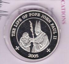 2005 SOMALI REPUBLIC POPE/THERESA SILVER 25 SHILLINGS + CAPSULE & CERTIFICATE