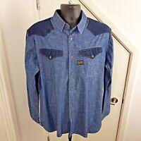 G-STAR RAW Shirt Long Sleeves Denim Originals Borg Blue Size XXL