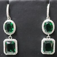Green Emerald Earrings Women Wedding Engagement Anniversary Jewelry Women Gift