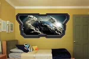 Space Planet Window Galaxy Stars Full Colour wall  sticker boys bedroom GA35-34