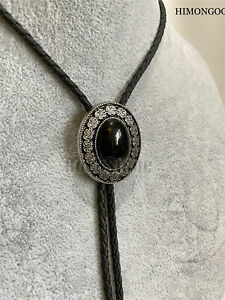 Flower Black Agate Mens Bolo Tie Wedding Necklace PU Leather Rope Western Cowboy