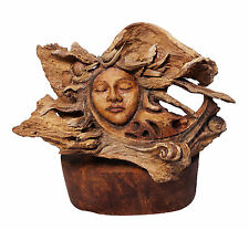 "Woman's Face Feminine Spirit Wood Sculpture ""Reflection"" US Artist Rick Cain New"