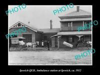OLD POSTCARD SIZE PHOTO OF IPSWICH QLD THE QLD AMBULANCE HOSPITAL c9112
