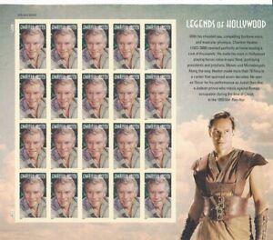 Charlton Heston Legends Of Hollywood Full Sheet of 20 Forever Stamps Scott 4892