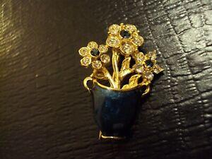 VINTAGE VASE FLOWERS PIN /BROOCH GREEN STONE RHINESTONE/ENAMEL GOLD PLATED