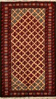 Tribal Geometric Balouch Oriental Area Rug Traditional Hand-Knotted 3'x5' Carpet
