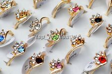 FREE Wholesale lots 10Pcs Flower CZ Rhinestone Alloy Gold P Woman Rings