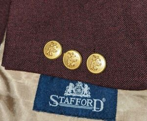 New 50R Plum Purple Gold Button Hopsack Wool Poly Blazer Jacket Sport Coat