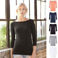 Anvil Women's Stretch Three-Quarter Sleeve T Shirt - 2455L