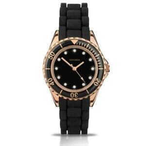 Sekonda Ladies Black Dial Rubber Silicon Strap Watch 4743
