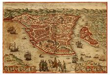 Istanbul Constantinople Byzantium Turkey bird's-eye view map Hogenberg ca.1572