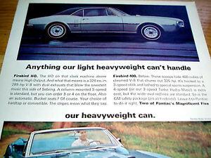 1967 PONTIAC FIREBIRD 400 & HO ORIGINAL AD *door/hood/bumper/steering wheel/dash
