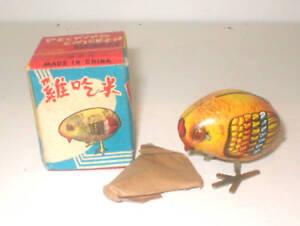 Vintage PECKING CHICKEN WIND UP Tin Toy/China,NIB MS006