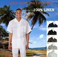 New Men's 2 pc Luxury Linen Casual Solid Color Walking Suit Set M2806L