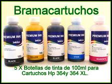5 X  BOTELLAS DE TINTA POR de 100ml HP 364 Y HP 364XL C5380 C6375 C6380 D5460