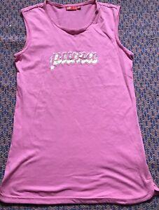 Puma Sleeveless Pink Sport Summer Gym Top Size M