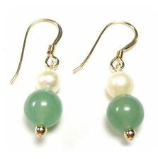 Genuine White Pearl & Natural Green Jade Hook Earring 14K Gold Filled